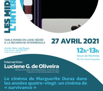 Le cinéma de Marguerite Duras dans les années quatre-vingt : un cinéma de « survivance » – 27 avril 2021